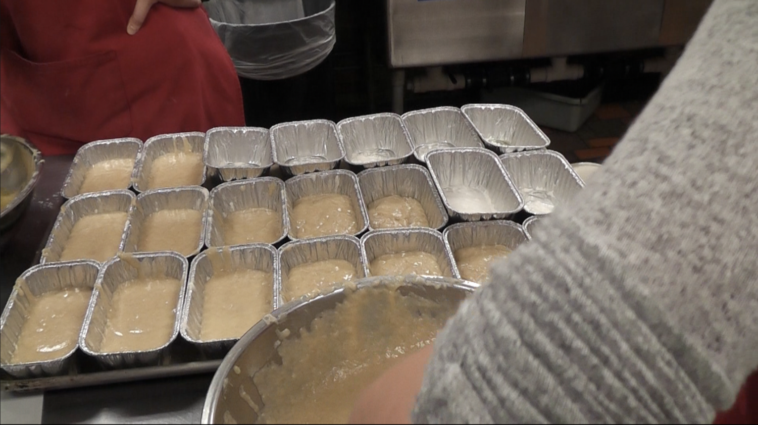 Students filled over 300 bread pans.