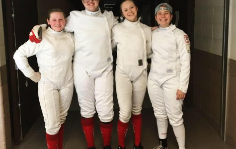 Women's Epee Squad at Team State's Competition From left to right:  Ashlyn Sminkey (upper), Cassandra Zawacki (upper), Phoebe Drupa (senior), Alex Wicken (senior)