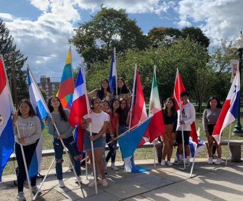 NFA students display their Hispanic pride and heritage by showing the flags of their countries.