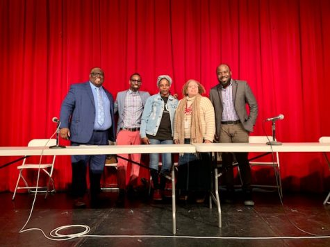 A panel of successful African American and Haitian pillars of the local community, including Norwich City Councilman Derell Wilson '10, Hartford's Poet Laureate Frederick Knowles '91, Dance Instructor Lashawn Cunningham '03, NFA Corporator Sheila Hayes '76, and NFA EL Intervention Specialist Enock Petit-Homme '05, celebrated Black History Month in the Slater Auditorium.